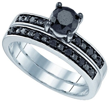 Black Diamond Bridal Ring Set 10K White Gold 1.05 cts. GD-83139